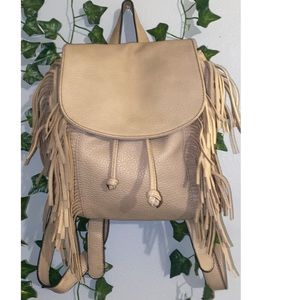Tan Fringe Melie Bianco Backpack purse
